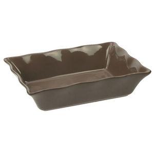 WHITE LABEL - plat à four rectangle avec joli feston en grès - Plat À Four