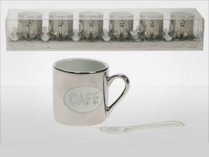 WHITE LABEL - service argenté de 6 tasses et 6 cuillères sur pla - Mug