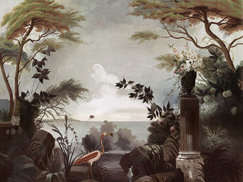 Ananbô - le jardin au flamant rose - Papier Peint Panoramique