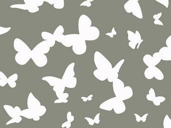 FLEUR DE SOLEIL - tissu papillons gris 160x160 - Tissu D'ameublement