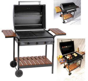 WILSA GARDEN - barbecue à gaz 3 feux grill et plancha 101x63x70cm - Barbecue Au Gaz