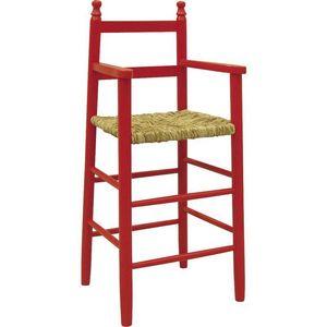 Aubry-Gaspard - chaise haute pour enfant en h�tre rouge - Chaise Haute Enfant