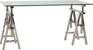 KOKOON DESIGN - bureau atelier réglable en acier et verre - Bureau