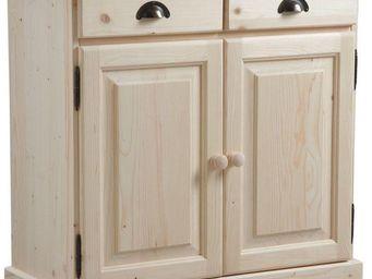 BARCLER - buffet en bois brut 2 portes 2 tiroirs 85x40x83cm - Buffet Haut