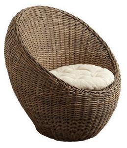 Aubry-Gaspard - fauteuil boule en poelet gris 84x73x83cm - Fauteuil De Jardin