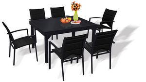 WILSA GARDEN - salon de jardin modulo noir 6 personnes en alumini - Salle À Manger De Jardin