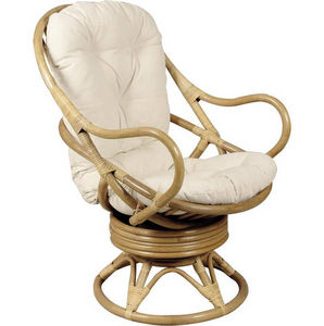 Aubry-Gaspard - fauteuil pivotant et basculant en rotin avec couss - Fauteuil De Jardin