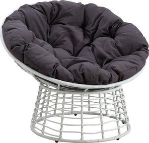 Aubry-Gaspard - fauteuil papasan blanc en polyrésine et acier 112x - Fauteuil De Jardin