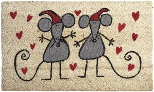 Aubry-Gaspard - paillasson souris amoureuses en coco et latex 75x4 - Paillasson