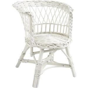 Aubry-Gaspard - fauteuil enfant en osier laqué blanc 38x40x48cm - Fauteuil Enfant