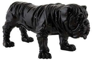 KOKOON DESIGN - statue bouledogue en polyrésine peinte noire 73x36 - Statuette