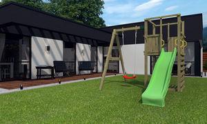 Chalet & Jardin - plateforme de jeux funny toboggan en bois 234x328x - Portique