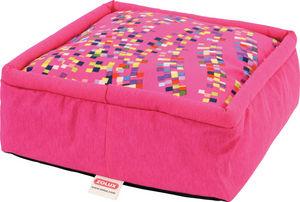 ZOLUX - pouf graffiti rose en tissu et ouate déhoussable 4 - Lit Pour Chien