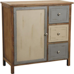 Aubry-Gaspard - commode 1 porte 3 tiroirs en pin antique - Buffet Haut