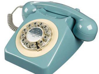 WHITE LABEL - téléphone 746 bleu français - Téléphone Décoratif