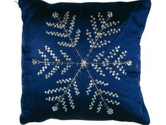 La Chaise Longue - coussin couverture bleu flocon de neige - Coussin Carré