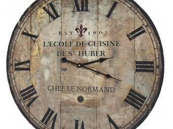 L'HERITIER DU TEMPS - horloge bois ecole de cuisine �58cm - Horloge Murale