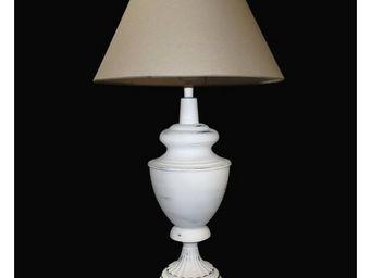 L'HERITIER DU TEMPS - lampe de table métal et lin - Lampe À Poser