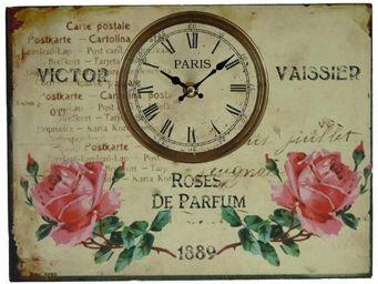 L'HERITIER DU TEMPS - horloge tableau roses 25x33cm - Horloge Murale