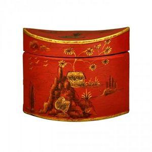 Demeure et Jardin - boite � th� t�le peinte rouge - Boite � Th�
