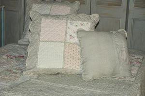Demeure et Jardin - taie d'oreiller patchwork rayés vert - Taie D'oreiller