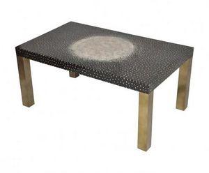Demeure et Jardin - table basse rectangulaire laque noire pieds bronze - Table Basse Rectangulaire