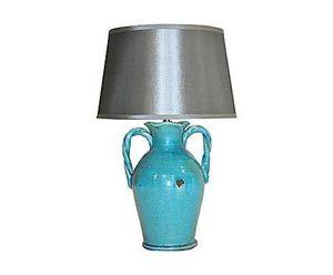 Demeure et Jardin - lampe urne turquoise - Lampe � Poser