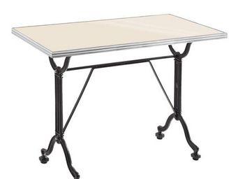 Ardamez - table de repas émaillée ivoire / inox / fonte - Table De Repas Rectangulaire