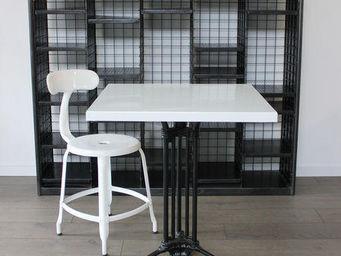 Ardamez - table de repas émaillée blanc / fonte - Table De Repas Carrée