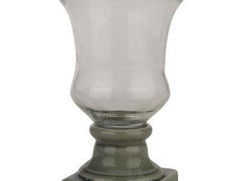 Interior's - vase sur pied gris fonc� - Vase � Fleurs