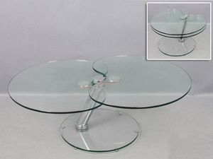 WHITE LABEL - table basse clover en verre. - Table Basse Forme Originale