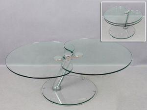 WHITE LABEL - table basse clover en verre. - Table Basse Forme Originale