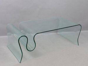 WHITE LABEL - table basse iris en verre. - Table Basse Forme Originale