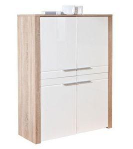 WHITE LABEL - buffet haut absoluto en bois chene avec 4 portes b - Buffet Haut