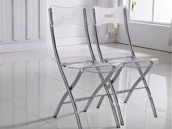 WHITE LABEL - lot de 2 chaises widow design en plexiglas transpa - Chaise Pliante