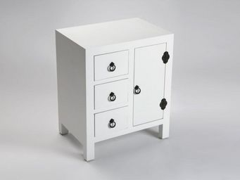 WHITE LABEL - matmata chevet blanc en bois 3 tiroirs 1 porte - Table De Chevet