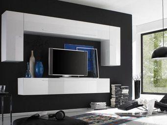 WHITE LABEL - composition murale tv design primera 3 blanc brill - Meuble Tv Hi Fi