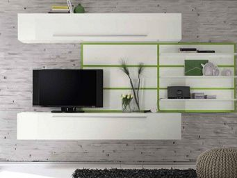 WHITE LABEL - composition tv design primera soft blanc brillant  - Meuble Tv Hi Fi