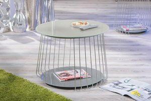WHITE LABEL - table basse design riva en verre satine cappuccino - Table Basse De Jardin