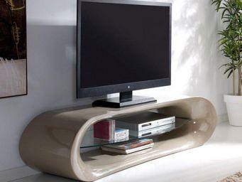 WHITE LABEL - meuble tv design ka�na en fibre de verre taupe bri - Meuble Tv Hi Fi