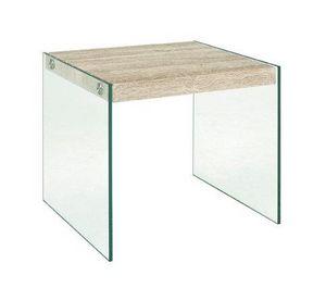 WHITE LABEL - table basse nina en verre et chêne clair - Table Basse Rectangulaire