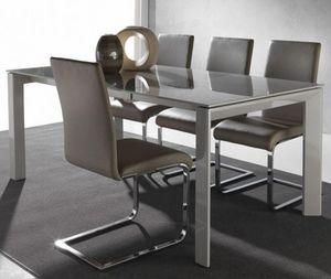 WHITE LABEL - table repas extensible sliver 140 x 90 cm en verre - Table De Repas Rectangulaire