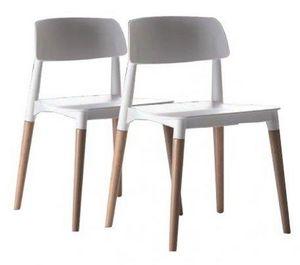 WHITE LABEL - lot de 2 chaises artika empilables blanche et hêtr - Chaise