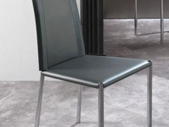 WHITE LABEL - chaise laser en simili cuir gris titane et acier c - Chaise
