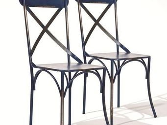 WHITE LABEL - lot de 2 chaises design bistro en acier bleu - Chaise