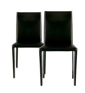 WHITE LABEL - lot de 2 chaises design cathy en simili cuir noir - Chaise