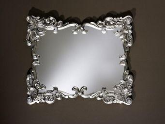 WHITE LABEL - loliane miroir mural design couleur argent - Miroir