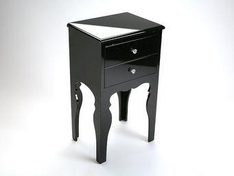 WHITE LABEL - lili commode bois 2 tiroirs laque noire brillante - Table De Chevet