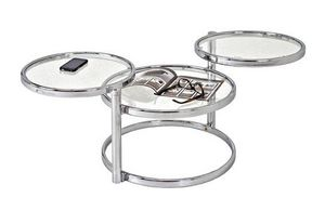 WHITE LABEL - table basse venda en verre transparent. - Table Basse Ronde