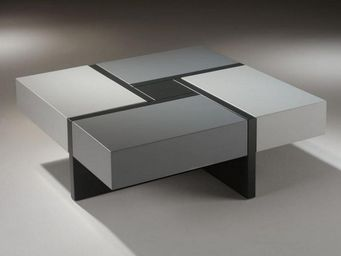 WHITE LABEL - table basse design molly grise avec 4 tiroirs coul - Table Basse Carrée